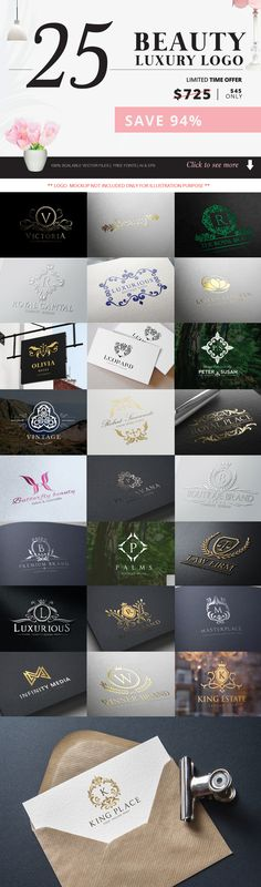 Beauty and Luxury Logo Bundle by Super Pig Shop on @creativemarket