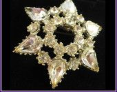 Gorgeous 1950s Rhinestone Brooch - Large Domed Star / Snowflake  by MarlosMarvelousFinds $24.00
