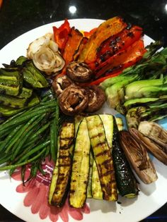 Grilled Veggies! Grill first, then pour on marinade/sauce. They absorb better after grilling! EVOO, balsamic vinegar, minced garlic, chopped fresh basil, salt and pepper. Done!