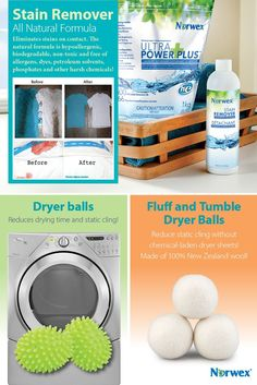 Norwex Stain Remover ~ • Works without chlorine bleach or other harsh chemicals to dissolve stains on contact. • Safe on all fabrics and in all types of water.  Dryer Balls: • Chemical-free and eco-friendly. • Reduces drying time and helps eliminate wrinkles.