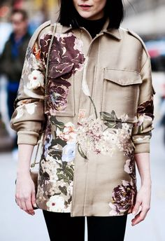 Painted-like florals on a coat feels fresh and perfect for spring.