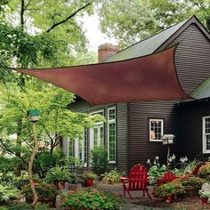 Outdoor , Modern Outdoor Landscaping Ideas: Small Yard Landscaping Ideas With Sun Sail Shade As An Alternative For Pergolas Or Gazebos : A Small Beautiful Garden Patio With Green Square Sun Shade Sail Outdoor Areas, Outdoor Rooms, Outdoor Living, Outdoor Decor, Triangle Shade Sail, Sun Sail Shade, Shade Sails, Sun Sails, Deck Sun Shade