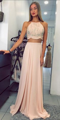 Beautiful simple custom made chiffon prom dresses, two piece long prom dress Prom Dresses Two Piece, Prom Party Dresses, Quinceanera Dresses, Homecoming Dresses, Girls Dresses, Formal Dresses, Dress Party, Chiffon Evening Dresses, Evening Gowns