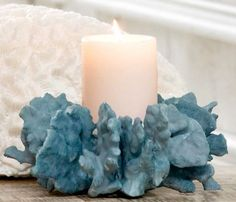 Regina Andrew Blue Coral Pillar Holder traditional candles and candle holders Gold Textured Wallpaper, Grey Grasscloth Wallpaper, Antique Brass Candle Holders, Clay Candle Holders, Shell Candles, Pillar Candles, Marble Pillar, Candle Lanterns