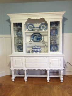 Chalk paint hutch with blue and white Spode