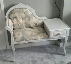 Telephone table chair upcycled grey floral