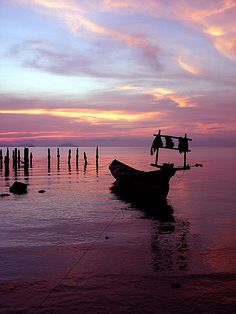 Sunsets at Kep, Cambodia are beautiful. The mix of purple, blue, yellow, and pink in the sky reminds me of cotton candy