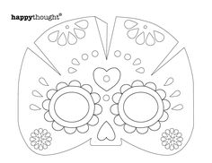 Day of the dead party ideas color in calavera masks for Day of the dead skull mask template