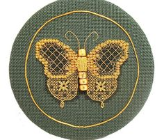 Golden Butterfly cross stitch counted thread with Kreinik gold threads