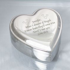Personalized Engraved Silver Heart Jewelry Box