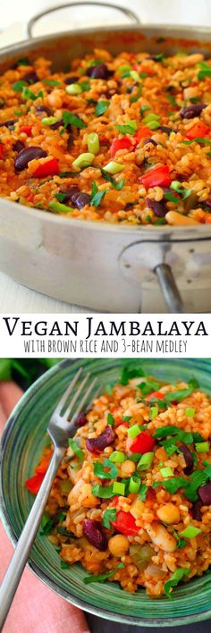 Vegan Jambalaya Super easy to make with basic pantry staples. Tomato-y rice flavoured with loads of herbs and spices and bulked up with celery, peppers and a selection of mixed beans make a hearty, warming and filling quick weeknight lunch or dinner. Veggie Recipes, Whole Food Recipes, Vegetarian Recipes, Cooking Recipes, Healthy Recipes, Vegetarian Dinners, Vegetarian Breakfast, Donut Recipes, Vegetarian Cooking
