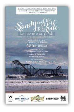 Sandy Relief Fundraiser Invite: Please come out to Sweetwater this Monday Dec 17 from 6-9P for all the beer and whiskey your little heart desires along with food from the W. Do your part in the Sandy Relief, and even if you can't make it, please share with your friends. Thx!