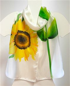 Hand-painted silk scarf with a pattern of yellow sunflower., scarves,  shawl 43.13$