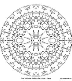 Don't Eat the Paste: Coloring Page: Rose Window at Saint Denis- North Mandala Coloring Pages, Coloring Book Pages, Printable Coloring Pages, Coloring Sheets, Stained Glass Rose, Stained Glass Quilt, Stained Glass Patterns, Mini Mundo, Gothic Windows