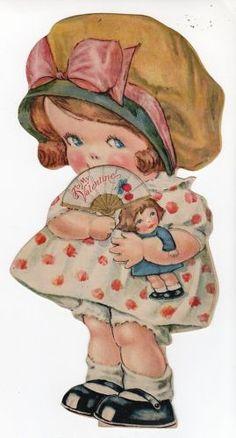 little girl vintage valentine