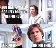 You half-witted, scruffy looking NERFHERDER! | Star Wars humor