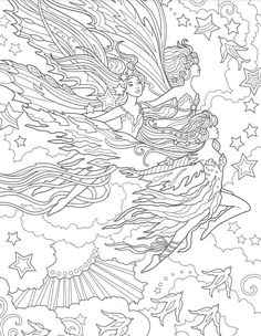 Rose Coloring Pages, Abstract Coloring Pages, Adult Coloring Pages, Coloring Books, Coloring For Kids, Free Coloring, Beautiful Fairies, Bunt, Painted Rocks