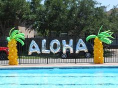 Aloha pool party decorations