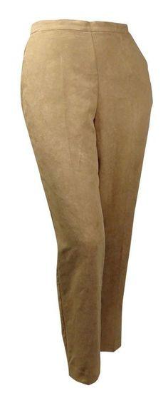 Alfred Dunner Women's El Dorado Faux-Suede Pant Saddle Beige NWT Plus 22W Medium