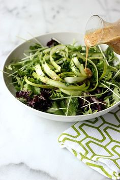 Spring Green Salad with Honey Dijon Almond Butter Dressing (Gluten-free and Dairy-free with Vegan Option) // Tasty Yummies