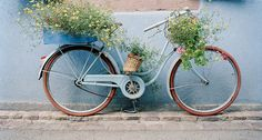 European photo of blue bike with yellow flowers in Ribeauville(Alsace), France by Dennis Barloga | Photos of Europe: Fine Art Photographs by Dennis Barloga