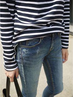 striped tee + blue jeans