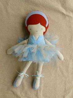Fabric Doll Rag Doll Cloth Doll Blue Ballerina.