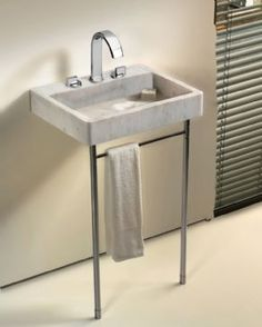 Techno S2/S3 Tubular Metal Support Legs with Towel Bar for Compact Basin