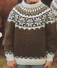 Lopi Icelandic Fair Isle Childs Snowflake Sweater Pattern- 78cm - 97cm (30¾-36¼) 12-29 aron's choice
