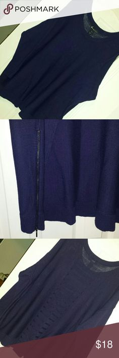 Lane Bryant 22/24w sweater Lane Bryant 22/24w sweater. Navy/almost deep purple color. See pic 3 and 4 for back detail. Pic two shows the zipper detail on each side. Lane Bryant Sweaters Crew & Scoop Necks