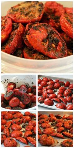 How to Make Slow Roasted Tomatoes; if you have Roma tomates to use up, these slow roasted tomatoes are amazing. [from KalynsKitchen.com] #Tomatoes #Garden #FreezerFriendly