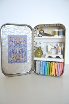 Tiny Tin Sewing Room ~ Periwinkle & Gold Room by TeaRoseCompany on Etsy