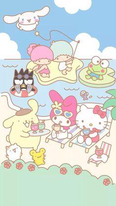 Hello Kitty & Friends #beach #sand #sea (⌒▽⌒)