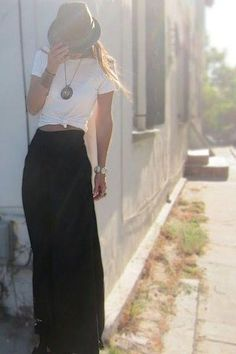 Effortless in a maxi skirt, simple T and a hat.     Photo via Lola Boutique FB  https://www.facebook.com/lolastyle