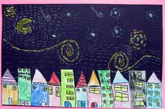 1st Grade-Starry Night - but maybe starry night over s-burg: buildings from our community, oil pastel resist for the sky, collage town onto bottom, overlap buildings