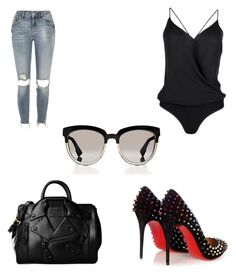 """""""Untitled #206"""" by vhyko on Polyvore featuring River Island, Kiki de Montparnasse, Moschino, Christian Louboutin and Christian Dior"""