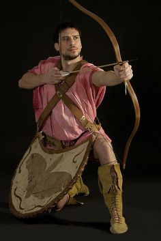 Modern reconstruction of an ancient Greek archer with kit
