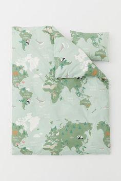 35a4025db8b Dekbedset met wereldkaartprint - Lichtgroen/landkaart - HOME | H&M NL 1  Dekbedovertrek Sets,