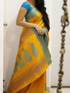 Poly Silk Orange Saree - LT1019
