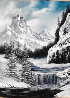 Beautiful black and white painting . Fantasy Landscape, Winter Landscape, Abstract Landscape, Landscape Paintings, Acrylic Paintings, Christmas Landscape, Winter Painting, Winter Art, Winter Snow