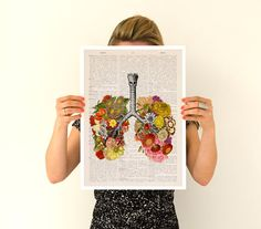 Spring Sale Flowery lungs Poster anatomical art Stop by PRRINT