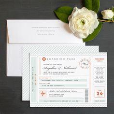 Vintage Boarding Pass Wedding Invitation