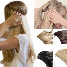Days Delivery Best Synthetic Hair Extensions 20 inches Curly Straight Full Head Invisible Wire Secret String No Clips in Hair Extensions Secret Fish Line Hairpieces (baby blonde mix bleach blonde) One Piece Hair Extensions, Hair Extensions Best, Synthetic Hair Extensions, Straight Hairstyles, Cool Hairstyles, Hair Meaning, Thing 1, Shiny Hair, Remy Human Hair