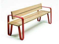 Banco en acero y madera con respaldo COURT   Banco con respaldo - LAB23 Gibillero Design Collection