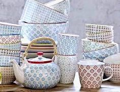 Bloomingville dishes.  I love, love, love these, but they don't sell them in the U.S.  The blue and grey look so cool together.