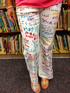 "Students sign teacher's smartie pants to celebrate the completion of testing. Teachers-Wear your ""SMARTIE PANTS"" with pride! Teacher Tools, Teacher Hacks, Teacher Resources, Teacher Gifts, Teacher Clothes, Teacher Stuff, Stem Teacher, Teacher Outfits, Teacher Humor"