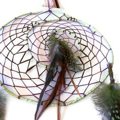 Spiral dream catcher purple brown and mint by CrowsdanceDesigns,