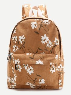 SheIn offers Brown Flower Print Canvas Backpack & more to fit your fashionable needs. Cute Backpacks For School, Cute School Bags, Cute Mini Backpacks, Brown Backpacks, Cool Backpacks, Canvas Backpacks, Teen Backpacks, Vintage Backpacks, School Bags For Girls