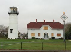 The Chatham Lighthouse/Coast Guard station is all boarded up and ready for Sandy.