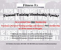 Holiday gift idea. Purchase a personal training package for someone and they also receive a temporary membership.